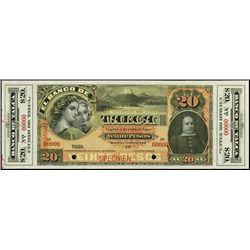 Chile. El Banco De Talca Specimen Banknote
