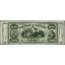 Chile. El Banco De Valparaiso Specimen Banknote