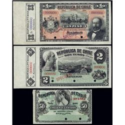 Chile. Republica De Chile Specimen Banknotes