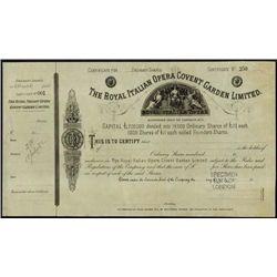 England. Royal Italian Opera Convent Garden Limit