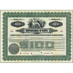 Republic of Haiti. 1922. $100. Specimen Bond.