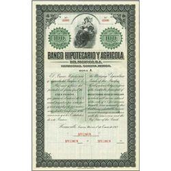 Mexico. Banco Hipotecario Y Agricola Specimen
