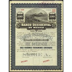 Mexico. Banco Occidental de Mexico Specimen