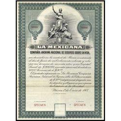 Mexico. La Mexicana, Co. Nac.Seguros Sob.La Vida.