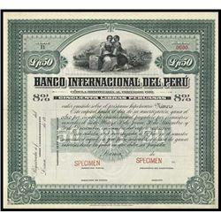 Peru. Banco Internacional del Peru Specimen Bond