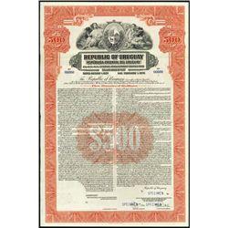 Uruguay. Republic of Uruguay Specimen Bonds