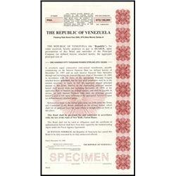 Republic of Venezuela Bonds. 1990-1991. 4 differe