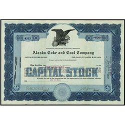 Alaska. Alaska Coke and Coal Co. Stock Certificat