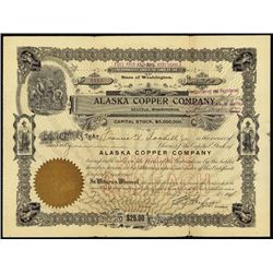Alaska. Alaska Copper Co. Stock Certificate