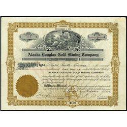 Alaska Douglas Gold Mining Co. Stock Certificate