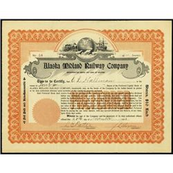 Alaska. Alaska Midland Railway Co. Stock Certific
