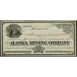 Alaska. Alaska Mining Co. Stock Certificate