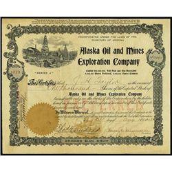 Alaska Oil and  Mines Exploration Co. Stock Certi