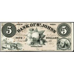 Florida. Bank of St.John Obsolete Proof Banknote.