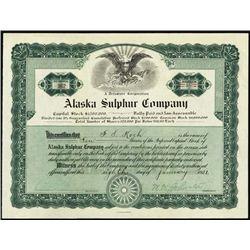 Alaska. Alaska Sulphur Co. Stock Certificate