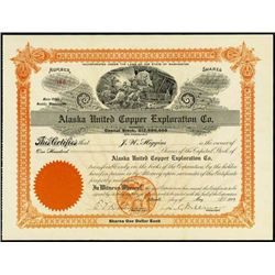 Alaska United Copper Exploration Co. Stock Cert.