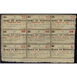 GA. Bank of Augusta Uncut Obsolete Sheet Both Sid