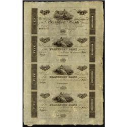 Kentucky. Frankfort Bank Uncut Obsolete Sheet.