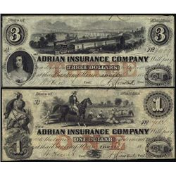Michigan. Adrian Insurance Company Obsolete Pair.