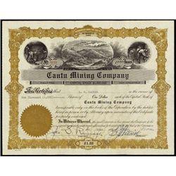 Alaska. Cantu Mining Co. Stock Certificate
