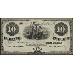 Colombia. El B. de Bogota & B. Popular Proof Bank