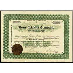 Alaska. Rowe Alaska Co. Stock Certificate