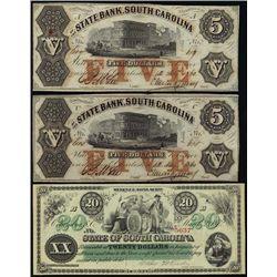 SC. South Carolina Obsolete Banknote Assortment.