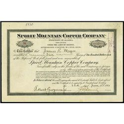 Alaska. Spirit Mountain Copper Co. Stock Certific