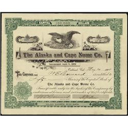 Alaska. The Alaska and Cape Nome Co. Stock Certif