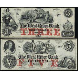 VT. West River Bank Obsol.  Pair W/ Coin Vignette