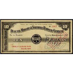 MN. Duluth, Missabe & Northern Rwy 1907 Dep. Scri