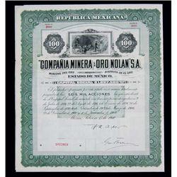 """Mexico. """"Compania Minera de Oro Nolan"""" S.A."""