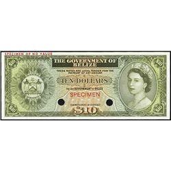 Gov. of Belize 1974-75 Issue Trial Color Banknote