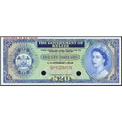 Gov. of Belize 1974-76 Issue Trial Color Banknote