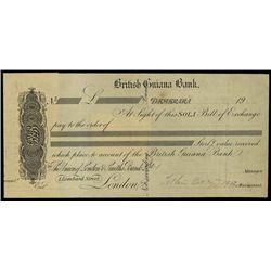 British Guiana Bank Sola of Exchange Proof.