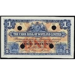 Scotland. Union Bank of Scotland Specimen Banknot