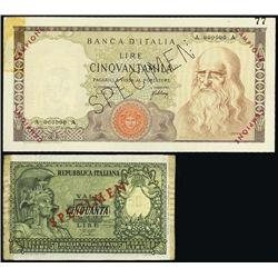 Italy. Bank of Italy & Rep. Italiana Banknote Spe