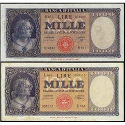 Italy. Bank of Italy Banknote Pair.