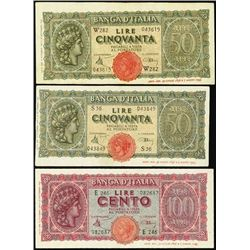 Italy. Bank of Italy Banknote Trio.