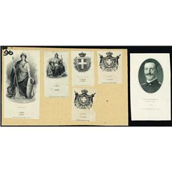 Italy. Proof Vignettes from Banknotes &  Document