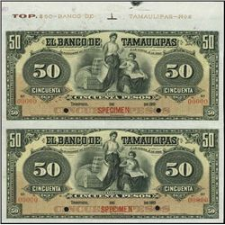 Mexico. El Banco De Tamaulipas Uncut Specimen Pai
