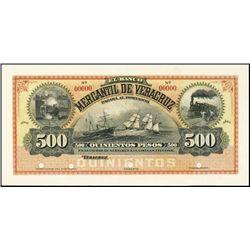 Mexico. El Banco Mercantil De Veracruz Proof.