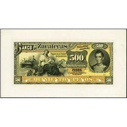 Mexico. El Banco De Zacatecas Banknote Proof.