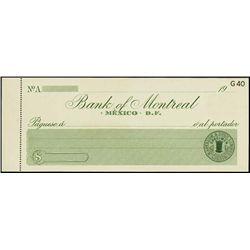Mexico. Canada. Bank of Montreal Specimen Check.