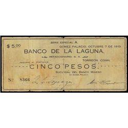 Mexico. Banco Minero - B. De Laguna Issued Bankno