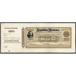 Mexico. Rep. Mexicana Unique Proof Banknote - Bon