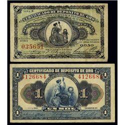 Peru. 1917 Certificado De Deposito De Oro Issue.