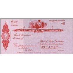 Venezuela. Bank of London & S. America Spec. Draf