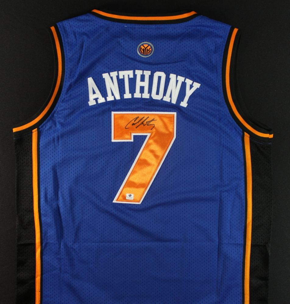 de19825e427 Carmelo Anthony Signed Knicks Jersey (GA COA). Loading zoom