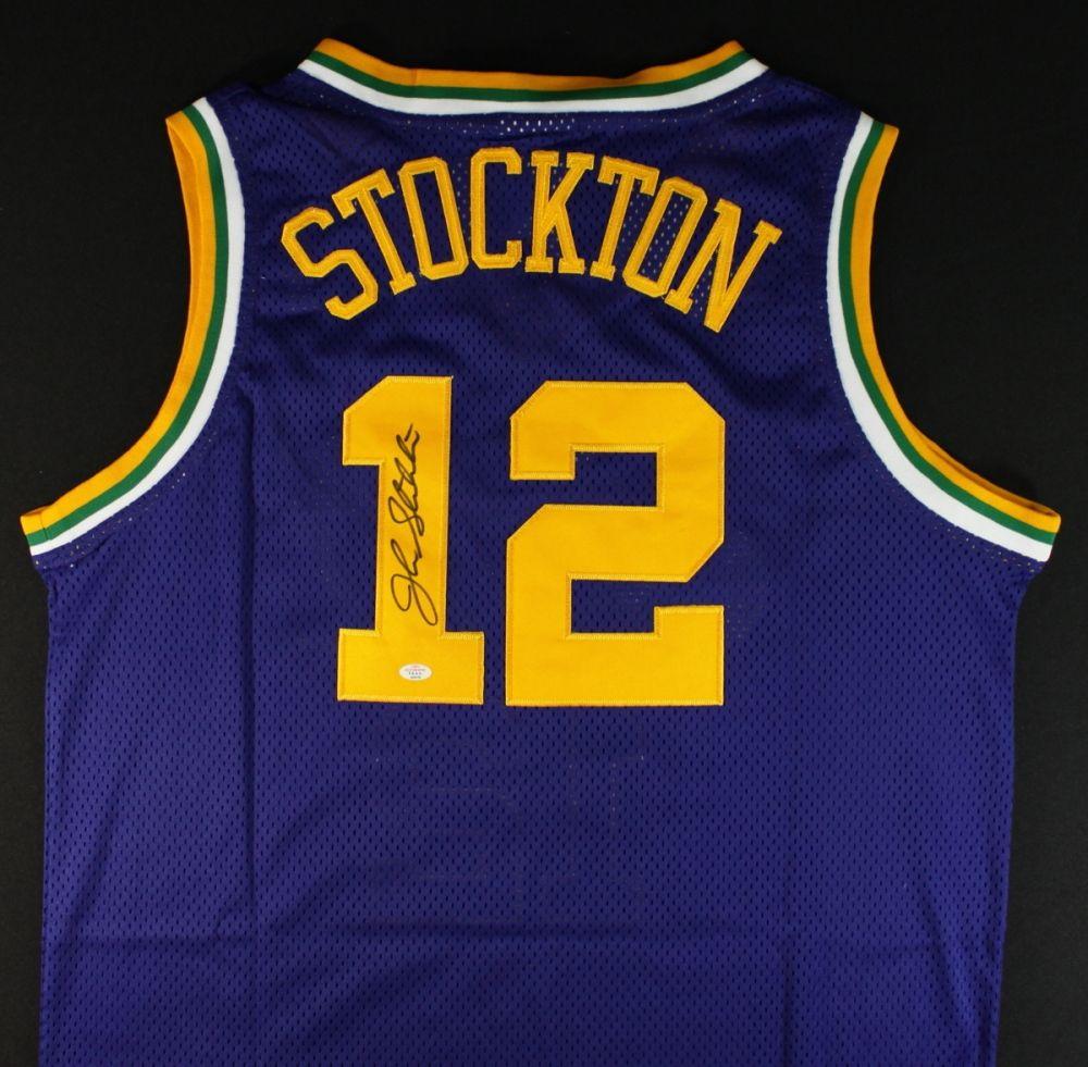 timeless design ef750 c1d0e John Stockton Signed Jazz Jersey (PAAS)